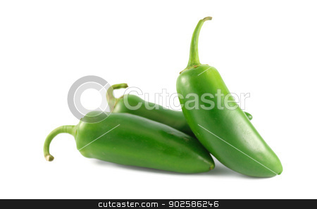 Jalapeno Peppers stock photo, Fresh jalapeno peppers isolated on white background by Javier Correa