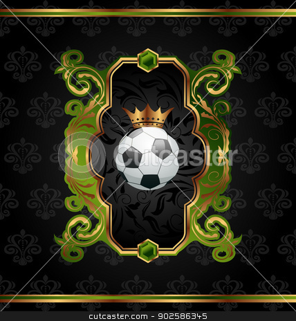Football label with golden crown stock vector clipart, Illustration football label with golden crown - vector by -=Mad Dog=-
