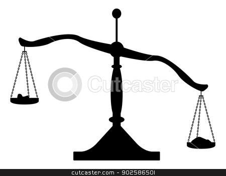 Silhouette of Balance Scales stock vector clipart, Silhouette of a set of balance scales. by Kotto
