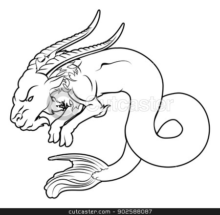 Stylised sea goat illustration stock vector clipart, An illustration of a stylised black sea goat perhaps a sea goat tattoo by Christos Georghiou