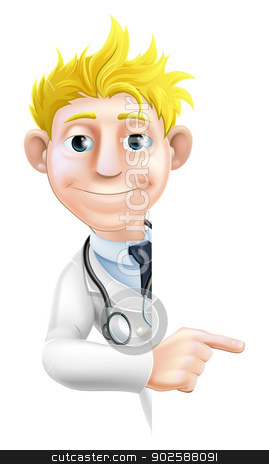 Doctor Pointing at Sign stock vector clipart, An illustration of a friendly cartoon doctor peeking round pointing at a sign or banner by Christos Georghiou