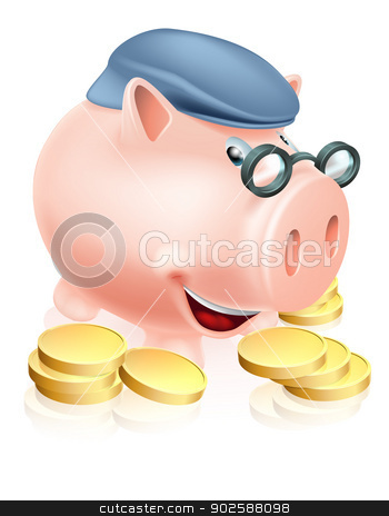 Pensioner savings concept stock vector clipart, A happy senior piggy bank cartoon character smiling, dressed as an older adult and surrounded by coins. Metaphor for good pension provisions or having saved well for your future by Christos Georghiou
