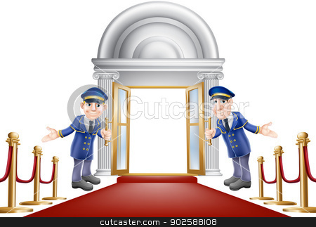 Red carpet entrance stock vector clipart, An illustration of a red carpet entrance with velvet ropes and two doormen welcoming the viewer in by Christos Georghiou