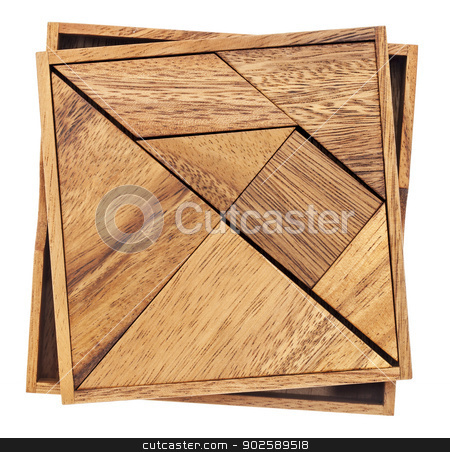 tangram - Chinese puzzle game stock photo, Tangram, a traditional Chinese Puzzle Game made of different wood parts to build abstract figures from them, isolated on white by Marek Uliasz