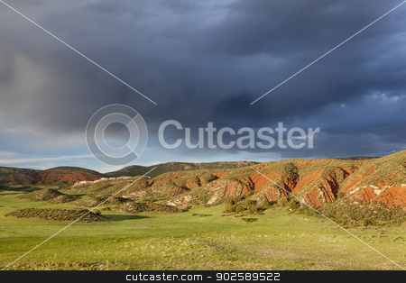 heavy clouds over Red Mountain stock photo, heavy storm clouds over mountain ranch - Red Mountain Open Space near Fort Collins, Colorado, spring scenery by Marek Uliasz