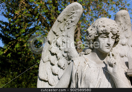 Stone Angel stock photo, A pensive stone angel at Forest Lawn Cemetery, Buffalo, New York, USA by Monia Kosciejew