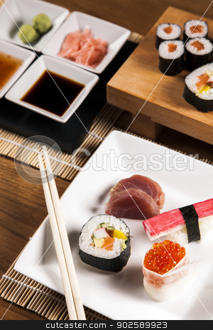 Delicious fresh sushi  stock photo, Variation of fresh tasty sushi food by fikmik