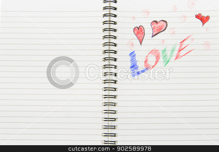 Love Written in Notebook stock photo, Pen drawing love doodle in a notebook by Richard Nelson