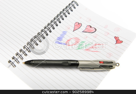 Love Written in Notebook With a Pen. stock photo, Pen drawing love doodle in a notebook by Richard Nelson