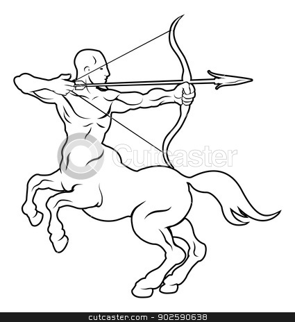 Stylised centaur archer illustration stock vector clipart, An illustration of a stylised black centaur archer perhaps a centaur archer tattoo by Christos Georghiou