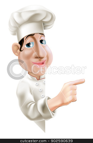 Side Pointing Chef stock vector clipart, A fun cartoon chef pointing sideways at a sign or banner by Christos Georghiou