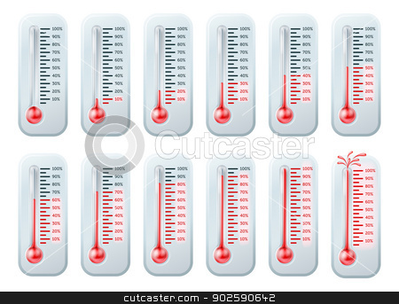 Temperature rising thermometers stock vector clipart, Series of illustrations of a thermometers showing increasing temperatures, last one bursting. Can be used to illustrate progress to goals or targets, shows percentage by Christos Georghiou