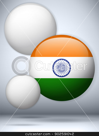India Flag Glossy Button stock vector clipart, Vector - India Flag Glossy Button by Augusto Cabral Graphiste Rennes