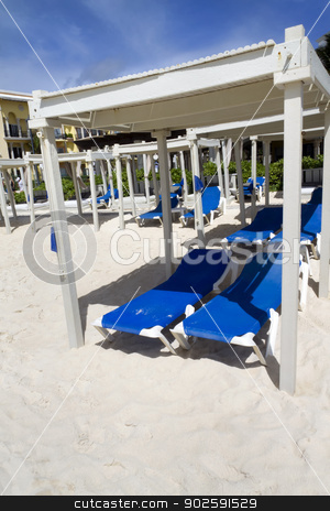 Beach Bed stock photo, A day bed on the sandy beach by Kevin Tietz