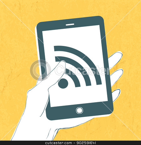 Smartphone with wireless connection icon. Vector stock vector clipart, Smartphone with wireless connection icon. Vector by pashabo