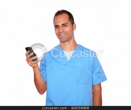 Smiling masseur sending a message on cellphone stock photo, Portrait of a smiling masseur sending a message on cellphone on isolated background by pablocalvog