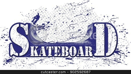 skateboard stock vector clipart, marked with a skateboard ramp, and a colorful splash Skateboarder. by samandale
