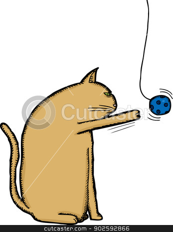 Cat Playing with Toy stock vector clipart, Bored brown cat playing with blue ball on string by Eric Basir
