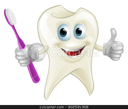 Tooth man holding a toothbrush stock vector clipart, An illustration of a cartoon tooth man character mascot holding a toothbrush by Christos Georghiou