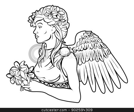 Stylised angel woman illustration stock vector clipart, An illustration of a stylised black angel woman perhaps an angel tattoo by Christos Georghiou
