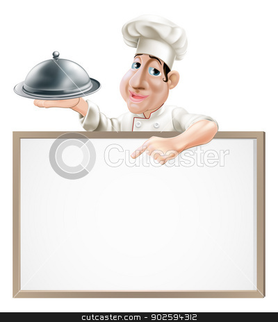 Chef cloche and menu stock vector clipart, A cartoon chef character holding a silver platter and pointing at a sign  by Christos Georghiou