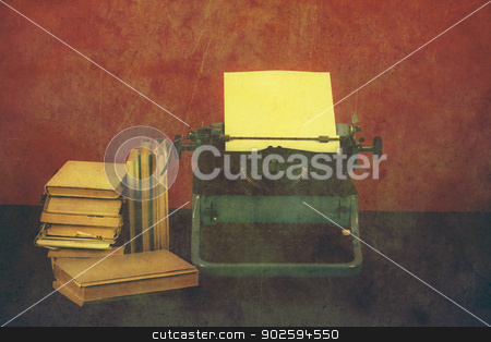 Old typewriter with books retro colors on the desk stock photo, Old typewriter with paper and books, retro colors on the desk by Artush
