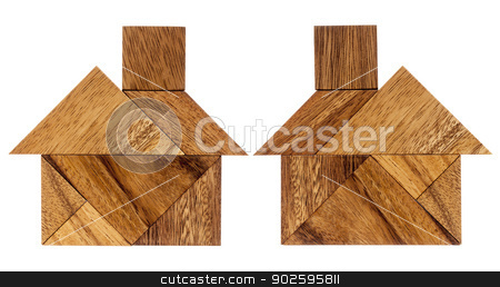 tangram house abstract stock photo, two abstract pictures of a house built from seven tangram wooden pieces, a traditional Chinese puzzle game by Marek Uliasz