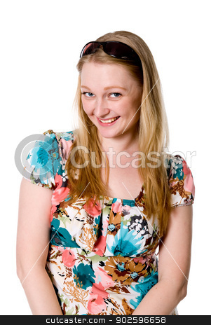 Portrait of a cheerful girl in a flowered dress stock photo, Portrait of a cheerful girl in a flowered dress. Isolated on white background by Vadim