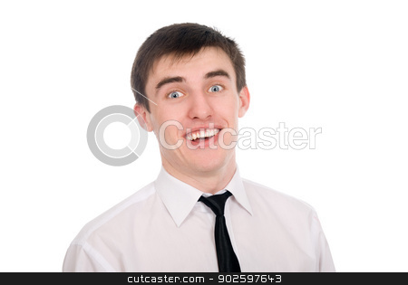 Close-up portrait of a surprised young businessman stock photo, Close-up portrait of a surprised young businessman. Isolated on white background by Vadim