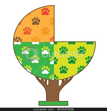 Dog Paw Seasons stock vector clipart, A tree showing the four seasons with dog paws in each section by Maria Bell