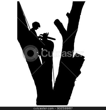 Tree Cutter stock vector clipart, A young man is sitting in a tree after cutting off the branches - he seems remorseful by Maria Bell