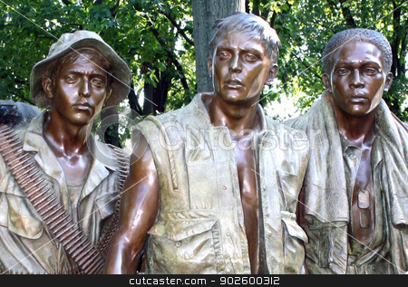 Vietnam War soldier's statue, Washington, DC. stock photo, The bronze statue of Vietnam War soldiers in Washington, DC. by lensbug