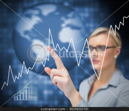 Businesswoman pointing curve stock photo, Businesswoman pointing curve on touch screen by Wavebreak Media