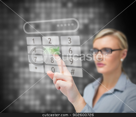 Businesswoman dialing number stock photo, Business woman dialing number against a background by Wavebreak Media