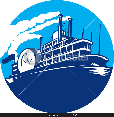 Steamboat Ferry Passenger Ship Retro stock vector clipart, Illustration of steamboat ferry passenger ship vessel sailing set inside circle done in retro style. by patrimonio
