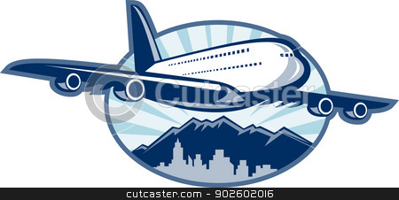 Jumbo jet airliner taking off stock photo, illustration of a Jumbo jet plane airliner taking off with city skyline and mountains in the background. by patrimonio