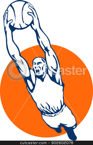 basketball player dunking the ball stock photo, illustration of a basketball player dunking the ball by patrimonio