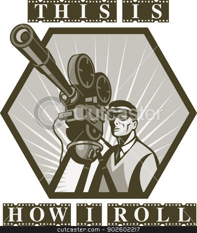 vintage movie television film cameraman director  stock photo,  illustration of a Vintage movie or television film camera viewed from a low angle done in retro style with wording