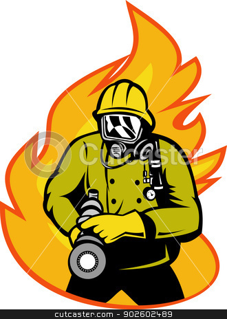 Firefighter fireman aiming fire hose stock photo, illustration of a Fireman or firefighter with fire hose and fire in the background. by patrimonio