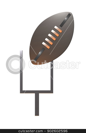 american rugby football goal post stock photo, illustration on the sport of american rugby football showing ball and goal post by patrimonio