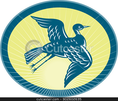 heron flying up side view stock photo, illustration of a heron flying up side view with sunburst in background. by patrimonio