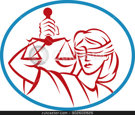 Lady holding up scales of justice stock photo, illustration of a Lady holding up scales of justice set inside an oval. by patrimonio