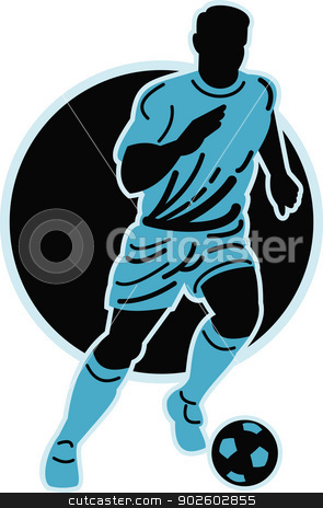 soccer player running with the ball  stock photo, illustration of a soccer player running with the ball isolated on white by patrimonio