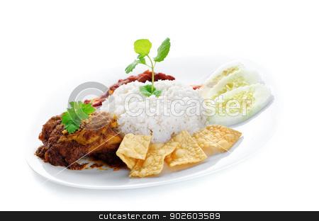 Nasi lemak kukus stock photo, Nasi lemak traditional malaysia spicy rice dish. Served with belacan, ikan bilis, acar, peanuts and cucumber. Malaysian food. Asian cuisine. by szefei