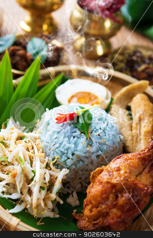 Traditional Malaysian food nasi kerabu stock photo, Traditional Malaysian food. Nasi kerabu is a type of nasi ulam, popular Malay rice dish. Blue color of rice resulting from the petals of  butterfly-pea flowers. Asian cuisine. by szefei