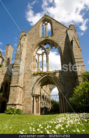 Abbey of Beauport stock photo, Ruins of the abbey of Beauport in Paimpol, Brittany, France by Tilo