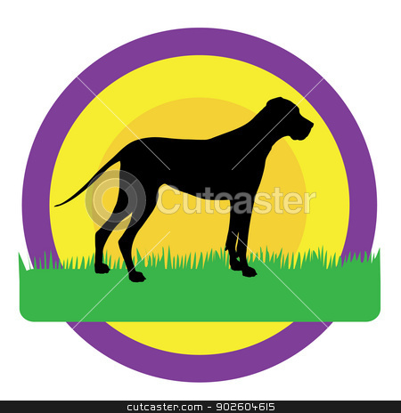 Dog Circles stock vector clipart, A silhouette of a Great Dane against purple,yellow and orange circles. There is green grass beneath his feet with room for text by Maria Bell