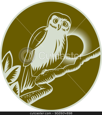 owl perched on a tree branch stock photo, illustration of an owl perched on a tree branch by patrimonio