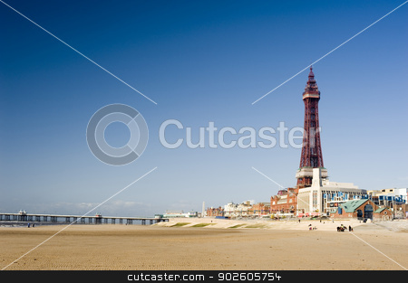 View of the beachfront at Blackpool stock photo, View of the beachfront at Blackpool along the golden sands to the pier and Blackpool Tower by Stephen Gibson