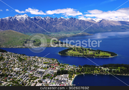 Queens Town and Lake Wakatipu. stock photo, View of Queens Town and Lake Wakatipu, New Zealand by Bonnie Fink